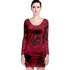 Roses Flowers Red Forest Bloom Long Sleeve Bodycon Dress