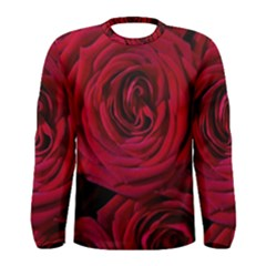 Roses Flowers Red Forest Bloom Men s Long Sleeve Tee