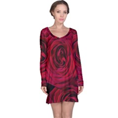 Roses Flowers Red Forest Bloom Long Sleeve Nightdress