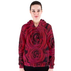 Roses Flowers Red Forest Bloom Women s Zipper Hoodie