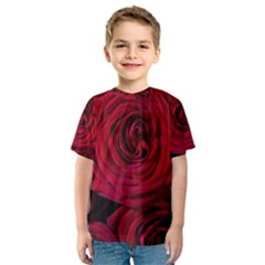 Roses Flowers Red Forest Bloom Kids  Sport Mesh Tee