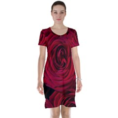 Roses Flowers Red Forest Bloom Short Sleeve Nightdress