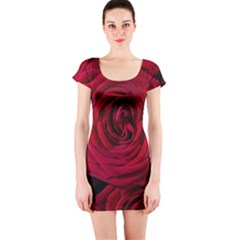 Roses Flowers Red Forest Bloom Short Sleeve Bodycon Dress