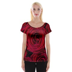 Roses Flowers Red Forest Bloom Women s Cap Sleeve Top