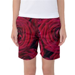 Roses Flowers Red Forest Bloom Women s Basketball Shorts