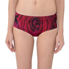 Roses Flowers Red Forest Bloom Mid-Waist Bikini Bottoms