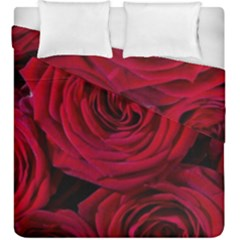 Roses Flowers Red Forest Bloom Duvet Cover Double Side (King Size)