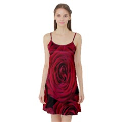 Roses Flowers Red Forest Bloom Satin Night Slip