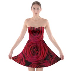 Roses Flowers Red Forest Bloom Strapless Bra Top Dress