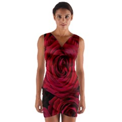 Roses Flowers Red Forest Bloom Wrap Front Bodycon Dress
