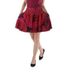 Roses Flowers Red Forest Bloom A-Line Pocket Skirt