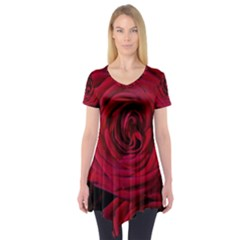 Roses Flowers Red Forest Bloom Short Sleeve Tunic