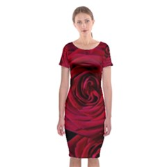 Roses Flowers Red Forest Bloom Classic Short Sleeve Midi Dress
