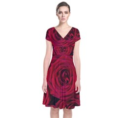 Roses Flowers Red Forest Bloom Short Sleeve Front Wrap Dress