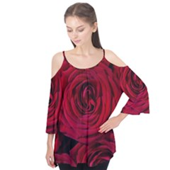 Roses Flowers Red Forest Bloom Flutter Tees