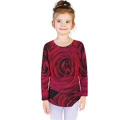 Roses Flowers Red Forest Bloom Kids  Long Sleeve Tee