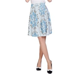 Flower Floral Rose Bird Animals Blue Grey Study A Line Skirt