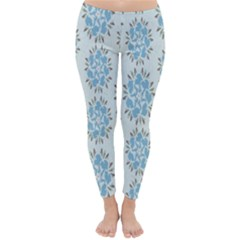 Flower Floral Rose Bird Animals Blue Grey Study Classic Winter Leggings