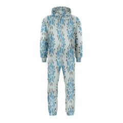 Flower Floral Rose Bird Animals Blue Grey Study Hooded Jumpsuit (kids)