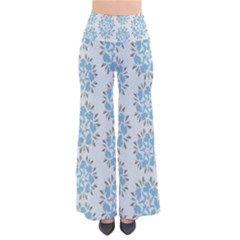 Flower Floral Rose Bird Animals Blue Grey Study Pants