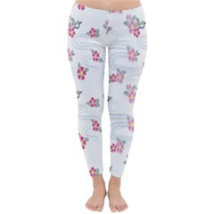 Flower Arrangements Season Sunflower Pink Red Waves Grey Classic Winter Leggings