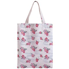 Flower Arrangements Season Sunflower Pink Red Waves Grey Zipper Classic Tote Bag by Alisyart