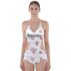 Flower Arrangements Season Sunflower Pink Red Waves Grey Cut Out One Piece Swimsuit