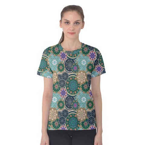Flower Sunflower Floral Circle Star Color Purple Blue Women s Cotton Tee by Alisyart