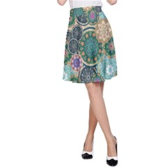 Flower Sunflower Floral Circle Star Color Purple Blue A Line Skirt