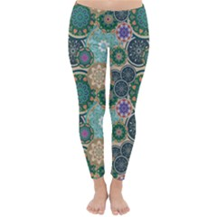 Flower Sunflower Floral Circle Star Color Purple Blue Classic Winter Leggings