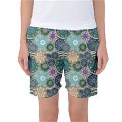 Flower Sunflower Floral Circle Star Color Purple Blue Women s Basketball Shorts