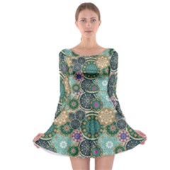 Flower Sunflower Floral Circle Star Color Purple Blue Long Sleeve Skater Dress