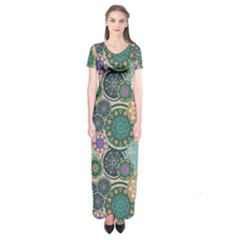 Flower Sunflower Floral Circle Star Color Purple Blue Short Sleeve Maxi Dress