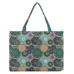 Flower Sunflower Floral Circle Star Color Purple Blue Medium Zipper Tote Bag by Alisyart