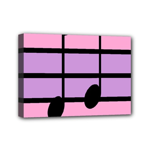Music Gender Pride Note Flag Blue Pink Purple Mini Canvas 7  X 5