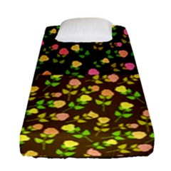 Flowers Roses Floral Flowery Fitted Sheet (single Size) by Amaryn4rt
