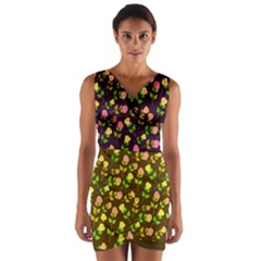 Flowers Roses Floral Flowery Wrap Front Bodycon Dress