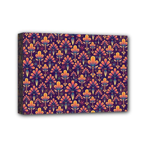 Abstract Background Floral Pattern Mini Canvas 7  X 5  by Amaryn4rt