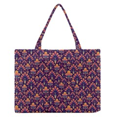 Abstract Background Floral Pattern Medium Zipper Tote Bag by Amaryn4rt