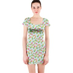 Flowers Roses Floral Flowery Short Sleeve Bodycon Dress