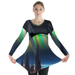 Planets In Space Stars Long Sleeve Tunic  by Amaryn4rt