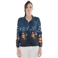 Owl And Fire Ball Wind Breaker (women) by Amaryn4rt