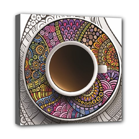 Ethnic Pattern Ornaments And Coffee Cups Vector Mini Canvas 8  X 8