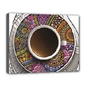 Ethnic Pattern Ornaments And Coffee Cups Vector Canvas 14  x 11  View1