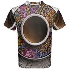 Ethnic Pattern Ornaments And Coffee Cups Vector Men s Cotton Tee