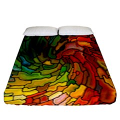 Stained Glass Patterns Colorful Fitted Sheet (king Size) by Amaryn4rt