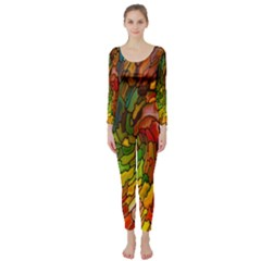 Stained Glass Patterns Colorful Long Sleeve Catsuit