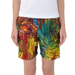 Stained Glass Patterns Colorful Women s Basketball Shorts