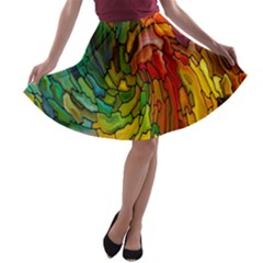 Stained Glass Patterns Colorful A Line Skater Skirt