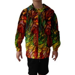 Stained Glass Patterns Colorful Hooded Wind Breaker (kids)